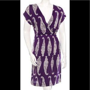 Tory Burch Dresses - Tory Burch Purple Paisley Faux Wrap Sun Dress